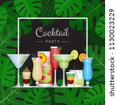 summer tropical cocktail with... | Shutterstock .eps vector #1130023229