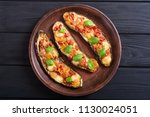 healthy food . eggplant with... | Shutterstock . vector #1130024051