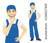 man in blue overalls thinking... | Shutterstock .eps vector #1130027309
