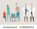 doctor and nurse with patients... | Shutterstock .eps vector #1130036921