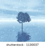 lonely tree. soft blue snow... | Shutterstock . vector #1130037