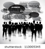 business people with speech... | Shutterstock .eps vector #113005345
