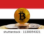 bitcoin btc on stack of... | Shutterstock . vector #1130054321