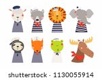 set of cute funny little... | Shutterstock .eps vector #1130055914