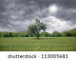 Stormy Sky In Countryside In...