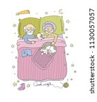 grandfather and grandmother... | Shutterstock .eps vector #1130057057