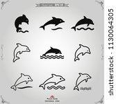 dolphin icon vector | Shutterstock .eps vector #1130064305