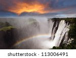 victoria falls sunset with... | Shutterstock . vector #113006491