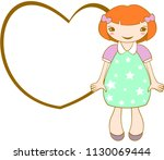 cute smiling girl with frame.... | Shutterstock .eps vector #1130069444