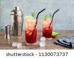 sloe gin fizz cocktail. pink... | Shutterstock . vector #1130073737