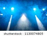 blue light  smoke  floodlight... | Shutterstock . vector #1130074805