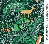 magic emerald forest seamless...   Shutterstock .eps vector #1130077097