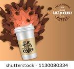 takeaway coffee paper cut... | Shutterstock .eps vector #1130080334