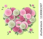 rose heart vector paper art... | Shutterstock .eps vector #1130081507