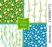 vector set of floral seamless... | Shutterstock .eps vector #1130081771