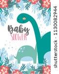 invitation card for a dinosaur ...   Shutterstock .eps vector #1130082944