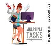 multiple tasks business woman... | Shutterstock .eps vector #1130088701