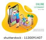 online supermarket or grocery... | Shutterstock .eps vector #1130091407