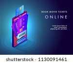 online movie ticket booking... | Shutterstock .eps vector #1130091461