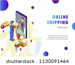 online delivery concept ... | Shutterstock .eps vector #1130091464
