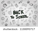 back to school with hand drawn... | Shutterstock .eps vector #1130093717
