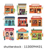 collection of shop buildings... | Shutterstock .eps vector #1130094431