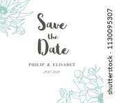 save the date with peonies.... | Shutterstock .eps vector #1130095307