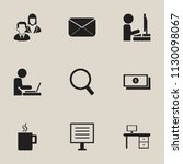 set of 9 editable office icons. ... | Shutterstock .eps vector #1130098067