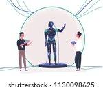 pair of people standing beside... | Shutterstock .eps vector #1130098625