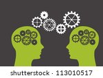 silhouette man with gears over... | Shutterstock .eps vector #113010517