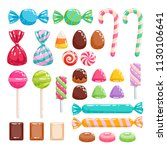 colorful sweets set   hard... | Shutterstock .eps vector #1130106641
