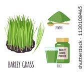 barley grass set with powder... | Shutterstock .eps vector #1130108465