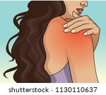 woman pressing her hand on... | Shutterstock .eps vector #1130110637