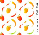 chili peppers seamless pattern. ... | Shutterstock .eps vector #1130113184