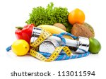 fitness equipment and healthy... | Shutterstock . vector #113011594