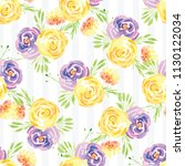 hand painted watercolor floral... | Shutterstock . vector #1130122034