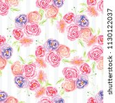 hand painted watercolor floral... | Shutterstock . vector #1130122037