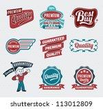 retro vintage labels for print... | Shutterstock .eps vector #113012809
