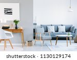 real photo of a living room... | Shutterstock . vector #1130129174
