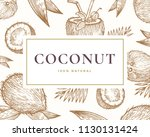 hand drawn coconut illustration ... | Shutterstock .eps vector #1130131424