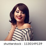 beautiful happy young woman... | Shutterstock . vector #1130149139