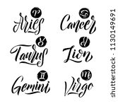calligraphy zodiac signs set.... | Shutterstock .eps vector #1130149691