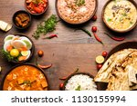 assorted indian food for lunch... | Shutterstock . vector #1130155994