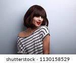 beautiful happy young woman... | Shutterstock . vector #1130158529