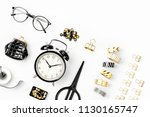 flat lay stylish set  alarm... | Shutterstock . vector #1130165747