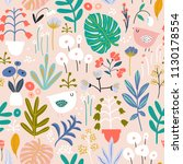 seamless pattern with flowers... | Shutterstock .eps vector #1130178554