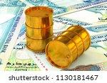 3d illustration  golden barrels ...   Shutterstock . vector #1130181467