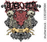black metal sign   with skull... | Shutterstock .eps vector #1130189084
