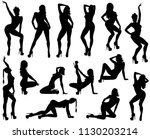 set of vector silhouettes of... | Shutterstock .eps vector #1130203214