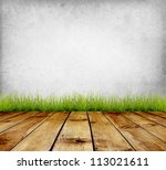 old wall and green grass on... | Shutterstock . vector #113021611
